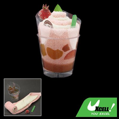 Plastic Bottle White Pink Handmake Towel Shaped Gift Ice Cream