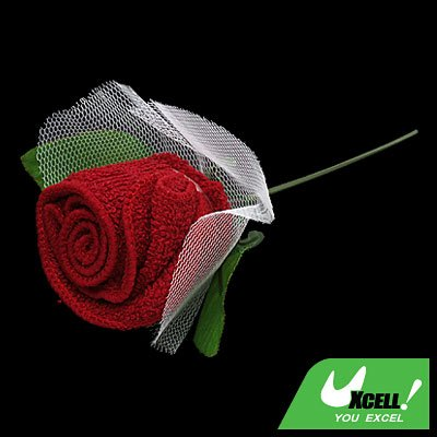 Red Towel Shape Rose Flower with white Mesh Wraped Wedding Decoration