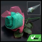 Pink Mesh Wraped Green Washing Hand Towel Handmake Rose Flower