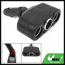 Black 12V 3 Way Car Cigarette Socket Charger Adapter Splitter