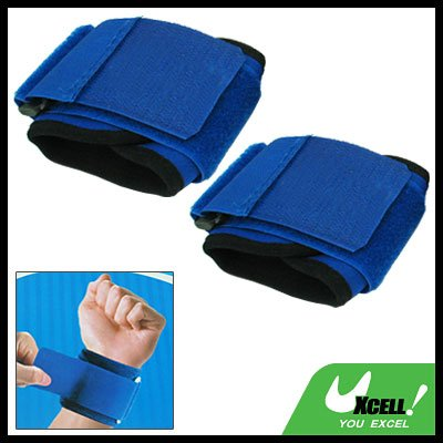 Pair of Blue Sports Elastic Wrist Wrap Support Protector