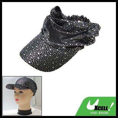 Black Soft Cloth Sun Hat Fishing Cap w. Star Pattern