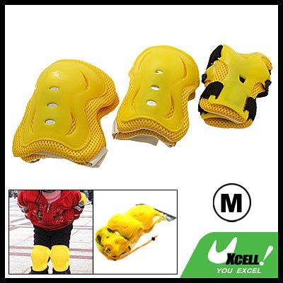 Sports Skating Yellow Elbow Knee Wrist Support Protector