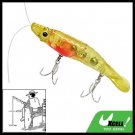 Yellow Shrimp Shape Fishing Lure Bait w. 2 Triple Hooks