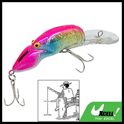 Clown Shrimp Fishing Lure Bait w. Split Treble Hooks