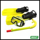 NEW Surf Surfing Scuba Diving Swimming Gear Fins Flippers + Mask + Snorkel  - Yellow