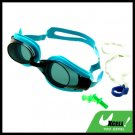 Swimming Goggles Glasses & Ear-Plugs / Nose Clip - Tinted + Emerald Frame