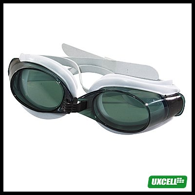 Swimming Goggles Glasses & Ear-Plugs / Nose Clip - Tinted + White Frame