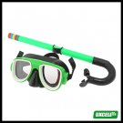 Surf Surfing Scuba Diving Swimming Mask & Snorkel - Black & Green