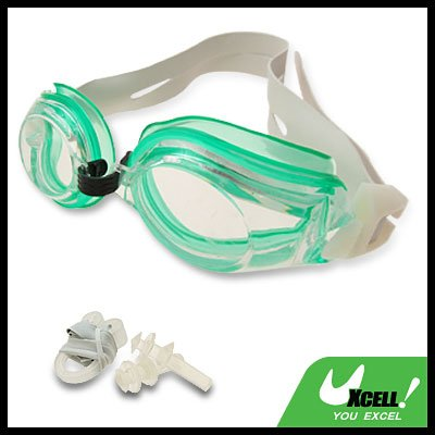 Crystal Newstyle Green Swim Swimming Goggles with White Strap