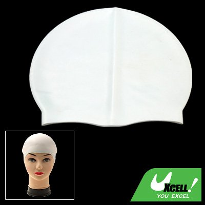 White Durable Competition Silicone Swimming Swim Cap Hat