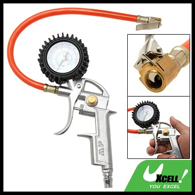 Tire Tyre Air Pressure Inflator Deflator Hand Trigger Dial Gauge Gun