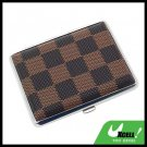 Classical Slim Leather 16 Cigarette Box Case Holder - Brown Checker