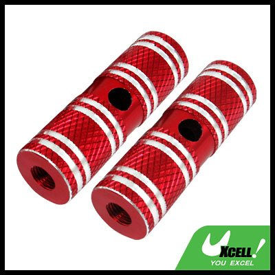 "Two Red Steel 3/8"" Axle Foot Pegs for BMX Bicycle Bike"