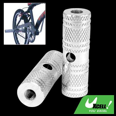 """Silvery Two Steel 3/8"""" Axle Foot Pegs for BMX Bicycle Bike"""