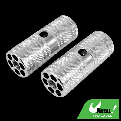 """Silvery Two Steel BMX Bike Bicycle 3/8"""" Axle Foot Pegs"""