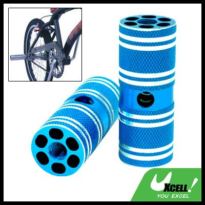 "Steel BMX Bike Bicycle 3/8"" Axle Blue Foot Pegs Two"