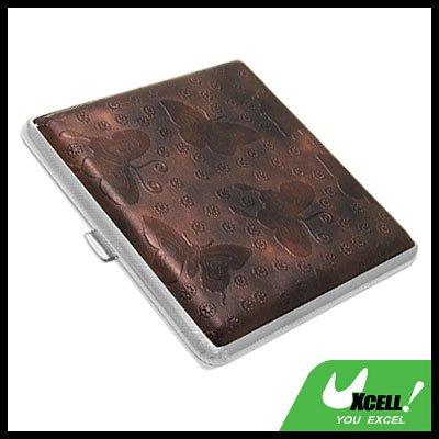 Metal Cigarette Case Holder Leather Covered for 20 Cigarettes