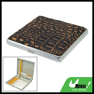 Metal Case Holder with Leather Cover for 20 Cigarette