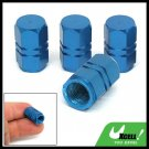 Car Auto Tyre Tire Valve Stem Covers Caps 4 Pcs Blue