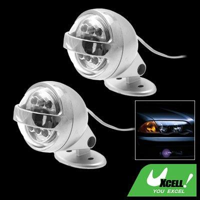 Car Auto Two Decorative 6 LED Circular Projecting Blue Light Lamp (SL-637)