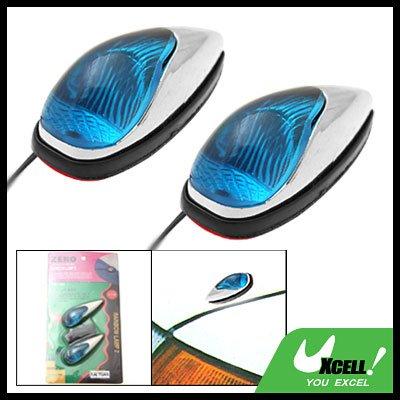 Car Auto Mount Two Mini Blue Crystal Decorative Light Lamp 12V (TS-21)