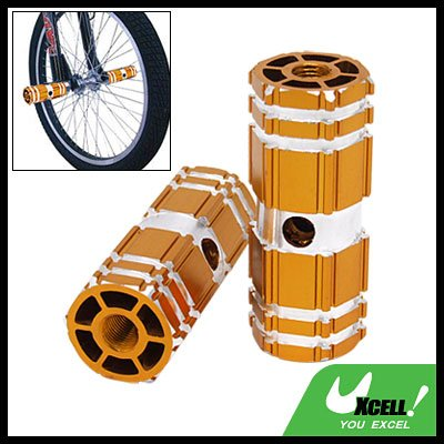 "Bicycle Bike Stunt 3/8"" Axle Aluminum Foot Pegs Golden for BMX"