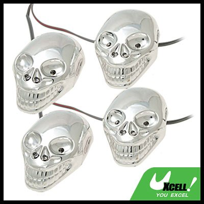 Auto Car Decorative Colorful Blue Red LED Skull Light Lamp