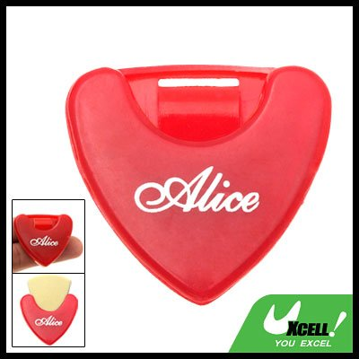 Red Plastic Beat Guitar Pick Holder Carrying Case
