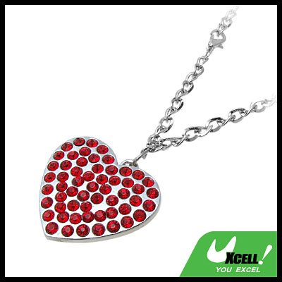 Fashion Jewelry Red Rhinestone Heart Pendant Necklace Watch