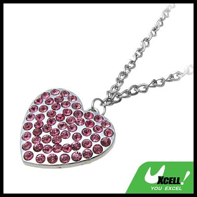 Fashion Jewelry Pink Rhinestone Heart Pendant Necklace Watch