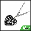 Fashion Jewelry Black Rhinestone Heart Pendant Necklace Watch
