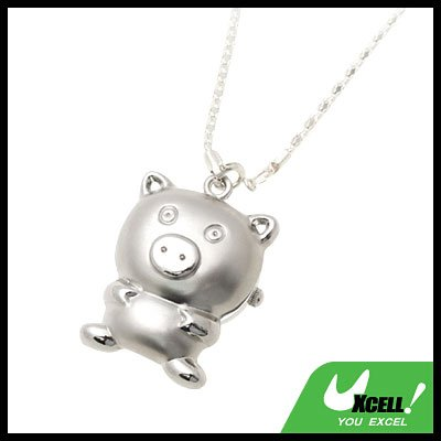Fashion Jewelry Cute Pig Pendant Ladies' SILVERYy Necklace Watch