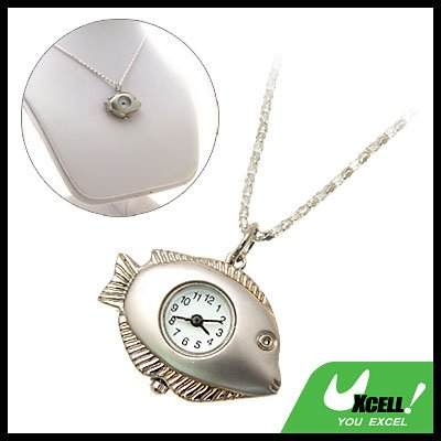 Fashion Jewelry Ladies' SILVERYy Fish Pendant Necklace Watch
