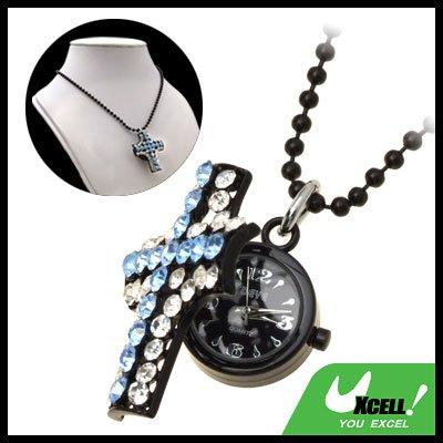 Fashion Jewelry Cross Pendant Blue Rhinestone Chain Necklace Lady's Quartz Watch