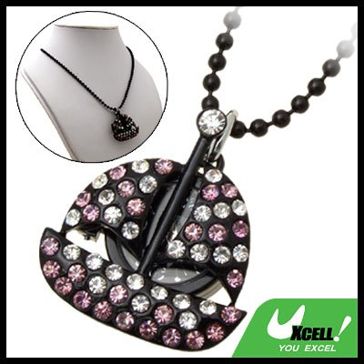 Fashion Jewelry Purple Rhinestone Sail Boat Pendant Lady's Sweater Chain Necklace Watch