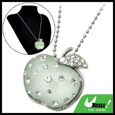 Fashion Jewelry Green Crystal Apple Rhinestone Pendant Sweater Chain Necklace Girl's Watch