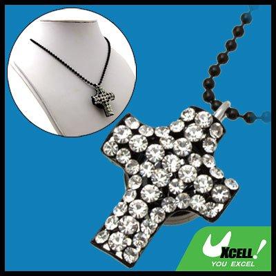 Fashion Jewelry Cross Pendant Rhinestone Chain Necklace Lady's Quartz Watch