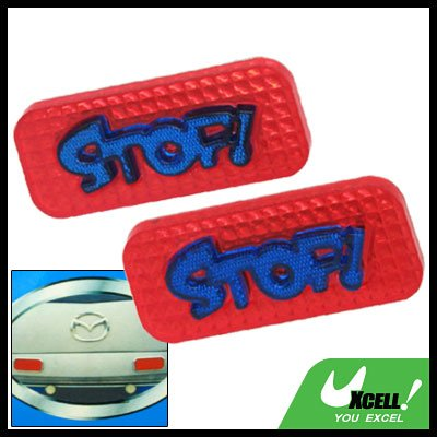 Couple Red Rectangle Car Motorcycle Reflector Blue Stop Sign (HL-6073)