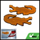 Crocodile Shape Stick-on Car Reflectors Safety Yellow
