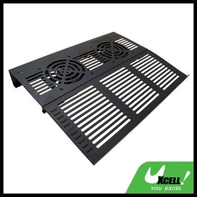 2 Fans Black Notebook Laptop Cooling Pad