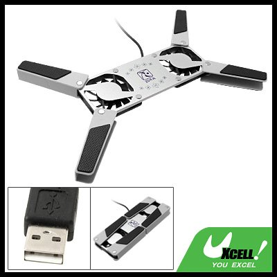 Anti-slip Folding Black USB Notebook 2 Fan Cooling Pad Cooler