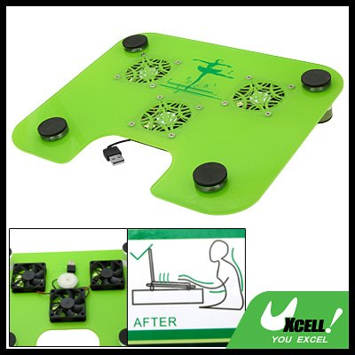 Protective Green 3 Fans USB Cooling Cooler Pad for Notebook Laptop