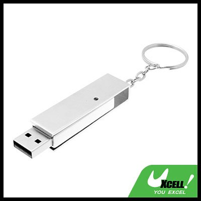 1GB USB Stainless Steel 2.0 Flash Memory Stick Drive w. Key Ring - Silvery