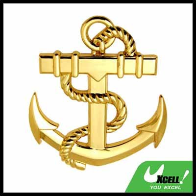 Car Accessories Golden Abstract Anchor Car Badge