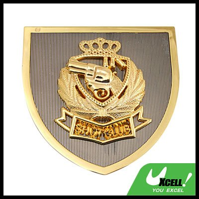 Gun Revolver Car Accessories Car Badge Emblem Golden