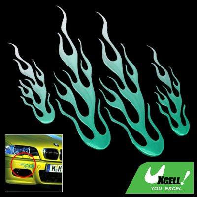 Green Color Flame Car Decoration Logo Badge Sticker (HL-8012)