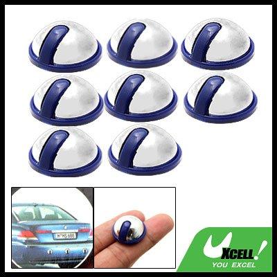 Mini Round Car Door Decorative Sticker Protector Guard Silvery and Purple 8PCS