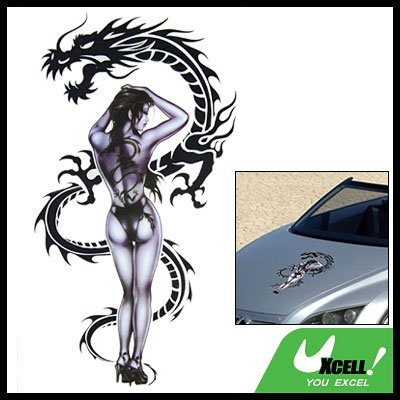 Car Decal Sticker Nude Asian Woman & Dragon Racing Logo
