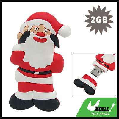 USB 2.0 2GB Double-Face Santa Claus Flash Memory Drive Stick